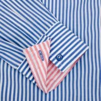 Grenouille Ladies Long Sleeve Blue Bengal Stripe Easy Care Cotton Shirt with Coral Pink Details